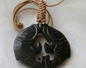 Chinese black jade fish pendant w leather cord , beaded jewelry , pair of golden carp , abundance & good fortune talisman , large pendant