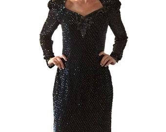Sequin Dress/ LBD/ Black Sequin Dress/ Formal Dress/ Sequin and Beaded Black Dress/ Party Dress/ Open Back Dress/ Mini Dress/ Beaded