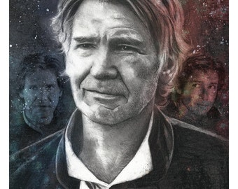 "Signed Giclee Print by James Hance -  ""Han"" (Star Wars / Harrison Ford)"