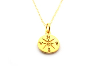 Compass Necklace - 14k Gold Fill Necklace - Simple Jewelry - Dainty Necklace - Gold Fill Jewelry - Gift for Her