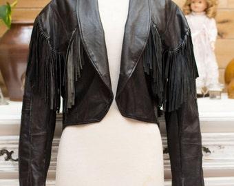 Vintage Black Leather Jacket with Fringes