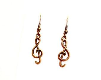 Handmade bronze music earrings treble clef musical note earring loops geek musician