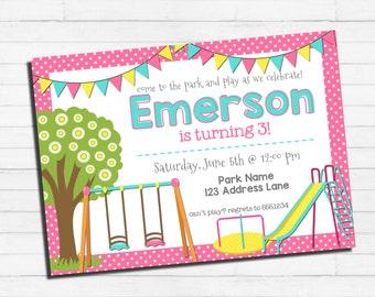 Playground Birthday Invitation | Park Birthday Invitation | Slide Birthday Party | Swing Set Birthday | Custom Digital Printable Invitation