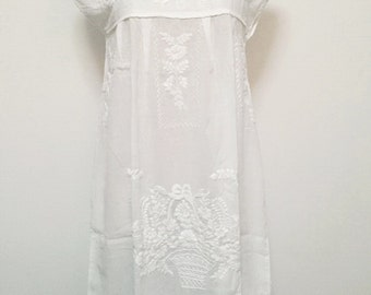 Embroidered Mexican Dress Cotton Tunic In White, Boho Dress, Hippie Dress, Wedding Dress