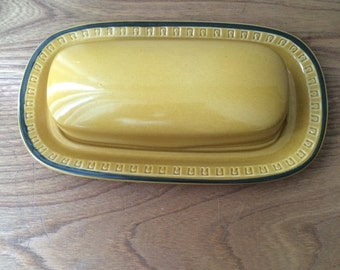 Brown and Mustard Yellow Butter Dish