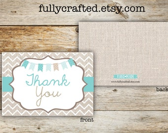 Thank You Card- Rustic Note Card -Downloadable Thank You -Digital Download- Rustic Thank You