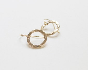 Gold Filled Hoops / Hammered Hoop Earrings / Gold Jewelry