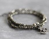 ON SALE Diamond OM Necklace, Pave Diamond Charm, Pyrite, Genuine Diamond Necklace, Beaded Necklace, Gemstone Necklace, Ohm, Yoga,