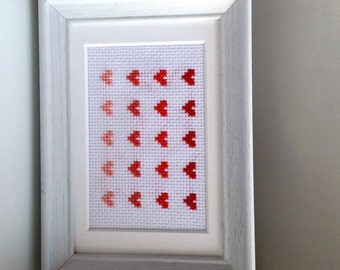 Framed Red Ombre Heart Cross Stitch