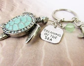 Sea Turtle Keychain, Turtle Keyring, Beach Keychain, Car Accessories, Beach Keyring, Dreaming of the Sea, Gift under 20, Stocking Stuffer