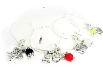 Wine Charm Set, Set of 8 Wine Charms, Wine Glass Charms, Hostess Gift, Starfish Wine Charms