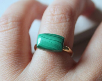 emerald ring gold  malachite ring natural malachite jewelry dainty ring modern stone ring emerald jewelry green gemstone ring marble ring