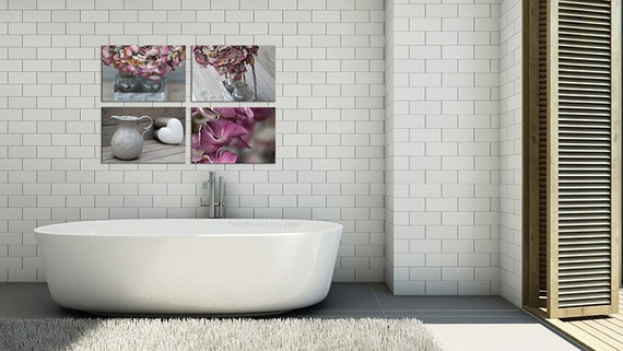 Bathroom decor in soft pink and grey with a set of 4 prints for Pink grey bathroom accessories