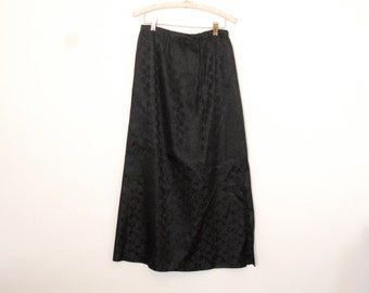 Black Floral Jacquard Maxi Skirt - Early 90s