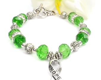 Lime Hope Ribbon Awareness Bracelet, Lyme Disease, Muscular Dystrophy, Spinal Cord Injuries (SCI), Non-Hodgkin's Lymphoma