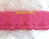 1-1/3 YARDS, Bright Pink Cotton, Flat Sewing Edging Trim, Embroidered Eyelet Flowers, Scallops, 1-1/4 Inch Wide, L210