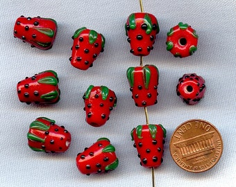 1 Vintage Glass Red Black Green Strawberry 14x11mm. Handmade Lampwork Bead  R631