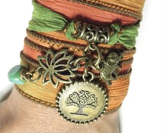 Namaste Yoga Jewelry Tree Of Life Silk Wrap Bracelet Sacred Elephant Lotus Bohemian Green Spiritual Wrist Band Christmas Stocking Stuffer