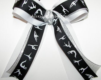 Gymnastics Bow, Sparkly Gymnastic Ribbon Bow, Black White Silver Metallic Ponytail Holder, Gymnastics Accessories, Dance Lyrical School Bows