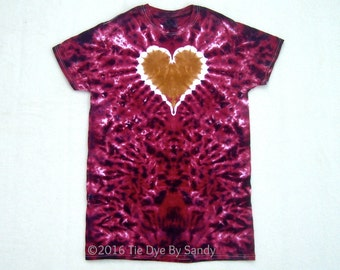 SALE! Small Tie Dye Shirt Garnet and Gold Heart