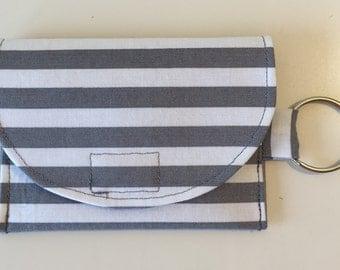 Grey and white striped wallet, grey and white striped coin purse