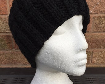 Slouchy Beanie - Hand Knitted Black Chunky Ribbed Slouchy Beanie Hat