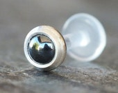 3mm Hematite Tragus Stud, Helix, Labret, Push Fit Gem, 18g or 16g, Cartilage Earring, Gemstone Piercing Jewelry