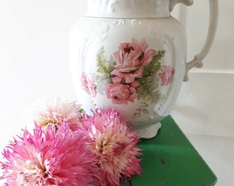 Totally divine large Victorian pitcher/jug/vase . White with pink rose transfer decoration and gilding.