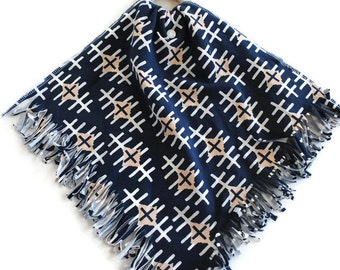 Navy Diamond Fringe Teething Lovie Security Blanket - Lovie Blanket - Teething Blanket - Baby Blanket