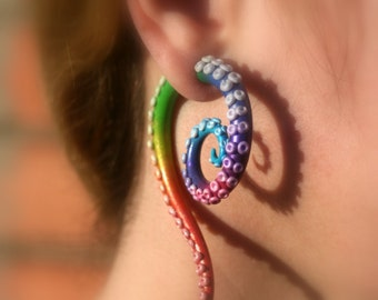 The rainbow tentacles - Faux gauges/Gauge earrings/Tentacle plug/tentacle earrings /spiral gauge/ fake piercing