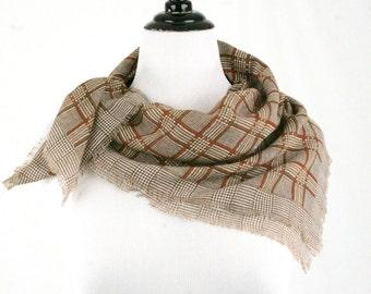 Vintage Brown Plaid Wool Square Scarf