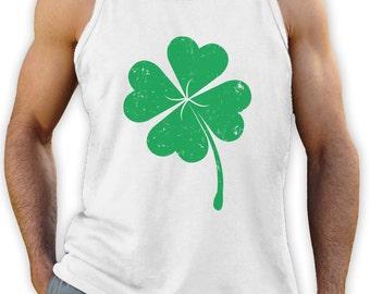 Faded Green Shamrock - St. Patrick's Day - Men's Singlet Tank Top