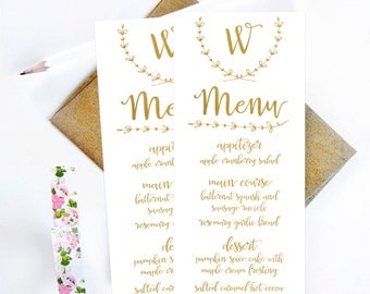 Gold and White Menu