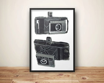 Camera Print // Polaroid Camera Print // Vintage Polaroid Camera // Camera Wall Art // Polaroid Camera Illustrations // Camera A4 Poster