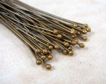 """Ball Head Pin - Brass Head Pins - Antique Brass Ball Headpins (bhp5.0m-AB) - 2"""" Headpins, 21g Headpins, 1.5mm ball - Qty. 100"""