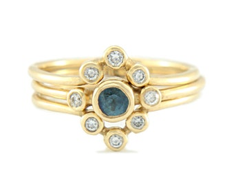 Blue Sapphire and Diamond Wedding Set 14k Yellow Gold Ring Sapphire Diamond Gold Ring V Shape Diamond Wedding Band Sapphire Ring