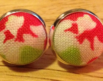 Abstract Green and Pink Floral Stud Earring