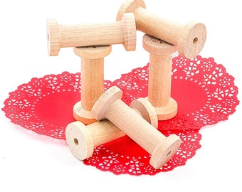 """12 - Large Wooden Spools - 2-3/4"""" tall x 1-1/4"""" - New Unfinished Wood for Craft Projects - Store Twine, Tape, Thread, Ribbon"""