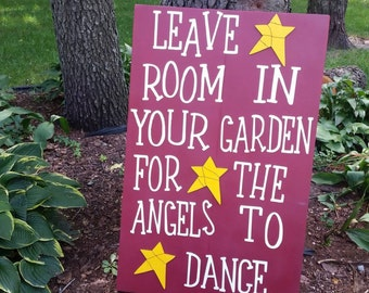Elegant Garden Angels, Angel Sign, Yard Art, Garden Decor, Primitive Garden, Wood