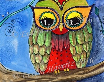 "Whimsical Owl ""Nellie"", mixed media painting on watercolor paper"
