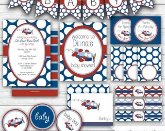 Airplane Baby Shower, Baby Boy Shower or Sprinkle, Red and Blue, Airplane Shower, Airplane Printables, Party Package  - Printable