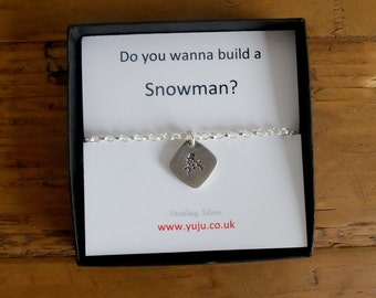 Silver Snowman Bracelet with Quote, Do You Wanna Build a Snowman, Personalised Quote Gift, Stocking Filler for Friend, Snowman Charm, Frozen