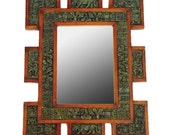 RESERVED for Linda // Mid Century Mirror Brutalist Meets Mayan Aztec Tribal Graphic Wall Art Green Carved Bohemian Home Decor Geometric