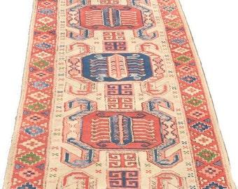 Vintage Persian Rug Runner Tribal Modern Wool Hand Knotted Rug Pink & Blue Turkish Medallion Ancient Symbols Bohemian Runner 12 FT Rug