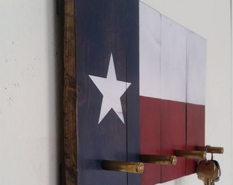 Texas Flag Key Rack with bullet hooks