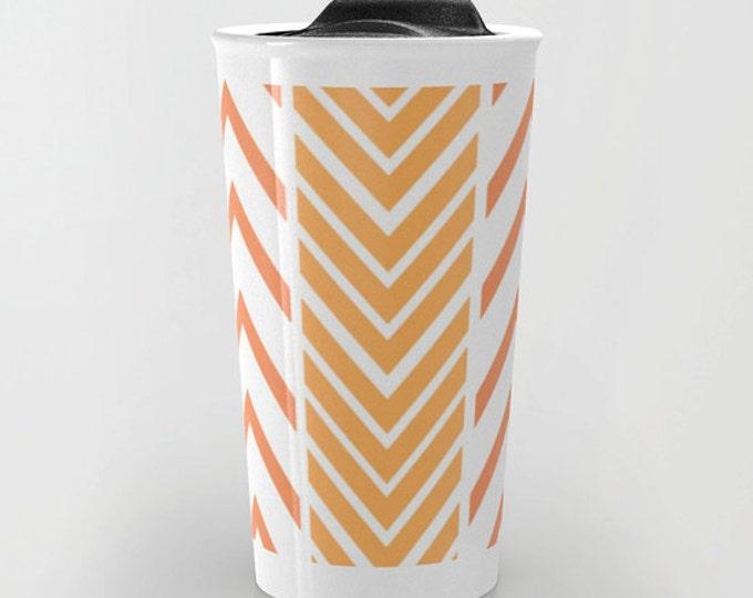 Orange Travel Mug - Orange and White Arrow  Art - Coffee Travel Mug - Hot or Cold Travel Mug - 12oz Travel Mug - Made to Order