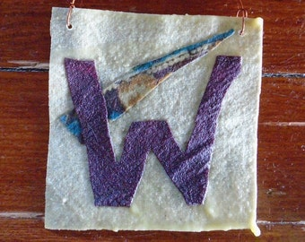 W Flag - Cubs Win! Hey Hey! -  A Rag Flag Special from Pea Pickle Farm. The W Sealed in Beeswax