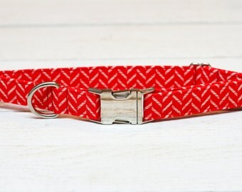 4th of July Dog Collar, Red Stripes, White, Patriotic, Fourth of July, Metallic, Pet Collar with Metal Buckle