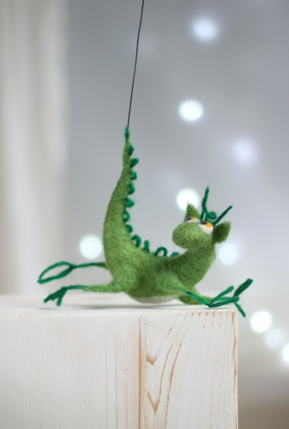 Needle Felt Dragon - Dreamy Green Dragon - Needle Felted Art Doll - Hero Of The Tales - Summer Home Decor - Green Cottage Home
