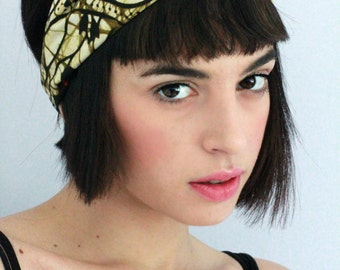 Turban Twist - Turban Headband, African Headwrap,Twisted Headband, Fabric Hairband, Headscarf, Beige African Print Hairband